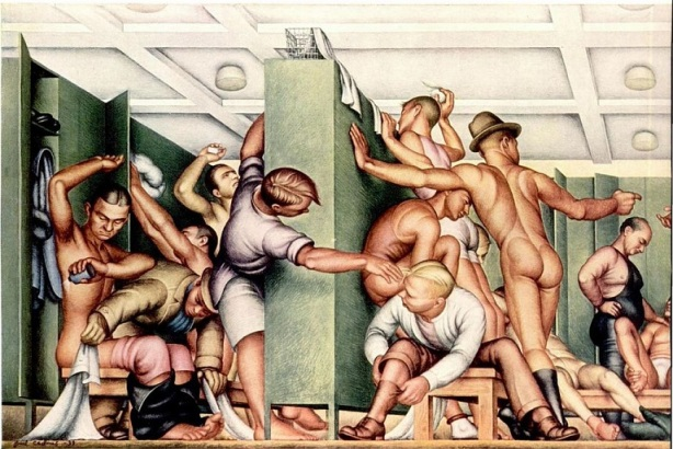 men's locker room 1930